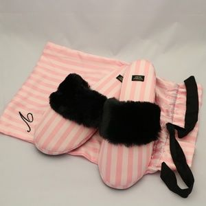 Victoria's Secret Satin Slippers, Pink Stripe
